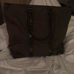 Banana Republic brown canvas and leather tote